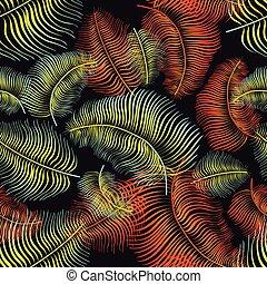 hand, gezeichnet, palme blätter, vektor, seamless, pattern., modern, stilvoll, gemalt, mit, bürste, tropische , ornament., wiederholen, hintergrund, für, textilien, einwickelpapier, oder, wallpaper., freigestellt, vektor, illustration.