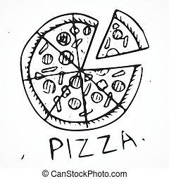 Gezeichnet Hand Pizza Freigestellt Hand Hintergrund Gezeichnet