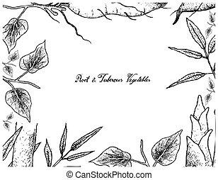 hand, gezeichnet, rahmen, von, batate, und, riesengrastrieb