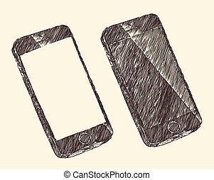 hand, gezeichnet, schwarzes mobiltelefon, vektor, skizze