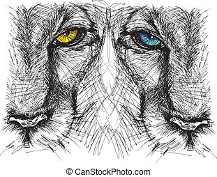 hand, gezeichnet, skizze, von, a, löwe, schauen, konzentriert, an, der, fotoapperat