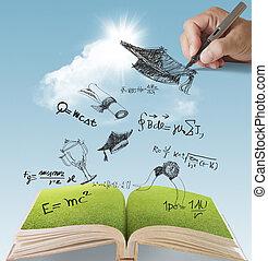 hand, gezeichnet, studienabschluss, feier
