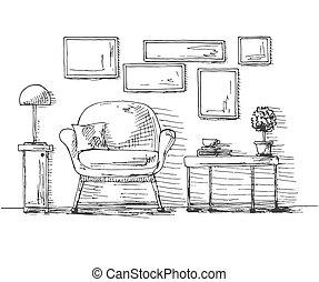 hand, gezeichnet, stuhl, tisch, mit, a, pflanze, und, a, cup., auf, wand, hängen, der, frame., vektor, abbildung, von, skizze, stil