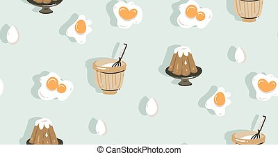 Freehand topf kochen retro karikatur - Eier kochen zeit ...