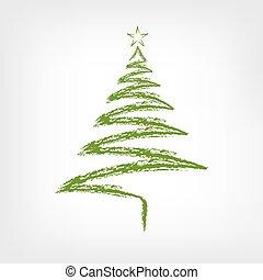 Weihnachtsbaum Gezeichnet.Schlittschuhlaufen Schneemann Baum Abbildung Hand Vektor