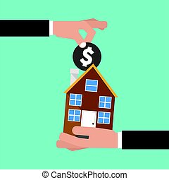 Hand Give A Coin To House Buying Real Estate Conceptual Vector Illustration