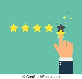 hand give star rating flat vector. feedback
