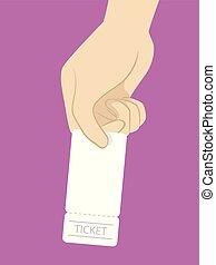 Hand Give Ticket Illustration