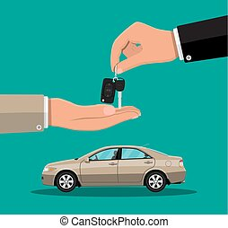 Hand gives car keys to another hand