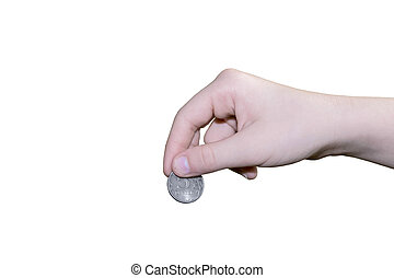 Hand gives coin