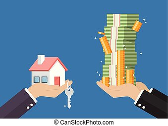 Hand gives home and key to other hand with money cash