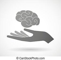 Hand giving a brain