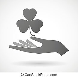Hand giving a clover