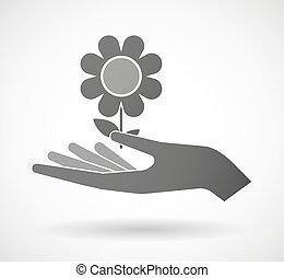 Hand giving a flower