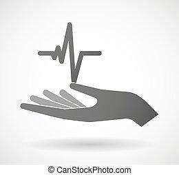 Hand giving a heart beat sign