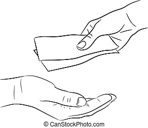 hand, giving and taking money bills of monochrome vector...