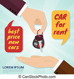 Hand giving car key to buyer. Rental or sale concept