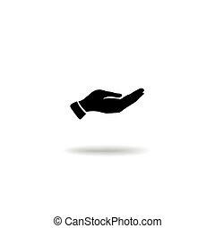 Hand giving gesture silhouette. Give alms icon on a white...