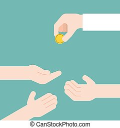 hand giving gold coin and another three hands receive, donation and charity concept, flat design vector