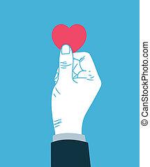 Hand giving heart symbol