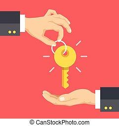Hand giving key, hand taking key