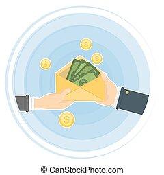 Hand giving money.