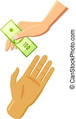 Hand giving money icon, cartoon style