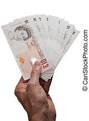 Hand giving several pounds notes on white