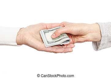Hand giving money to other hand.