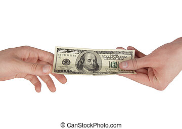 Hand giving money to other hand isolated