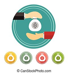 Hand giving money to other hand Set Vector illustration