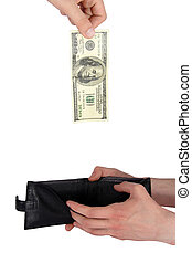 Hand giving money to purse