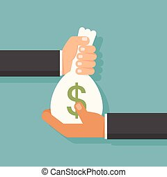 Hand giving money, vector