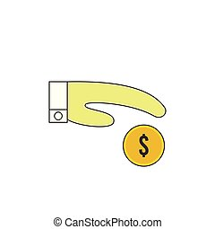 Hand Giving Money Vector Outline Icon Illustration