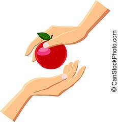 Hand giving red apple icon, cartoon style