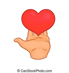 Hand giving red heart icon, cartoon style