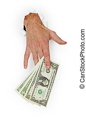 Hand giving stack of dollars on white background