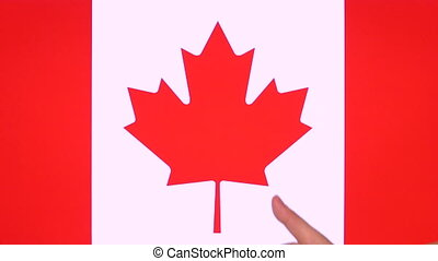Hand giving thumb up with Canada flag, approval gesture with copy space