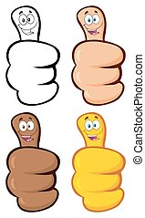 Hand Giving Thumbs Up Gesture With Cartoon Face. Collection Set