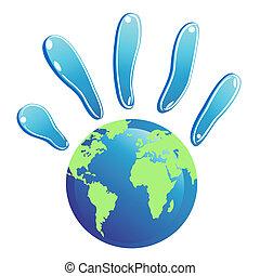 hand globe symbol