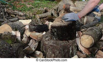 hand gloves chopping wood