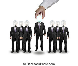 Hand Grab and lift one businessman with lighting bulb head standing with group in white background