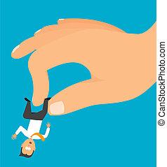 Hand grabbing a tiny businessman or employee - Cartoon...