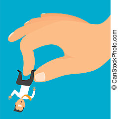 Hand grabbing a tiny businessman or employee - Cartoon...
