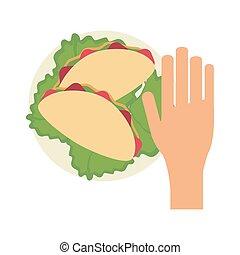 Hand grabbing burrito
