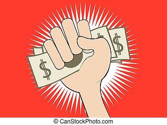 hand grabs money
