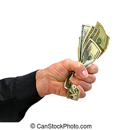 Hand grasping hold of money - Hand of man wearing dress...