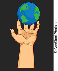 A vector image of a hand holding a world globe, symbolizing domination over the world. Available as a Vector in EPS8 format that can be scaled to any size without loss of quality. The graphics elements are all can be moved or edited individually.