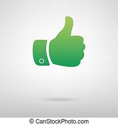 Hand green icon