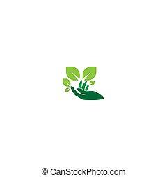Hand green leaf logo icon